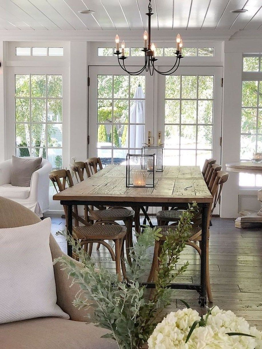 35 Cool Farmhouse Dining Room Design Ideas in 2020 Open