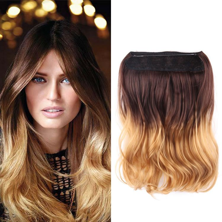 Flip In Synthetic Hair Extensions 14 Inch Brown To Golden Blond