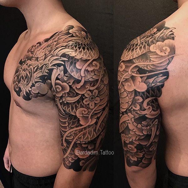 Dragon Tattoo Japanese Sleeve Black And Gray Japanese Tattoo Dragon Sleeve Tattoos Shoulder Tattoo Japanese Tattoo