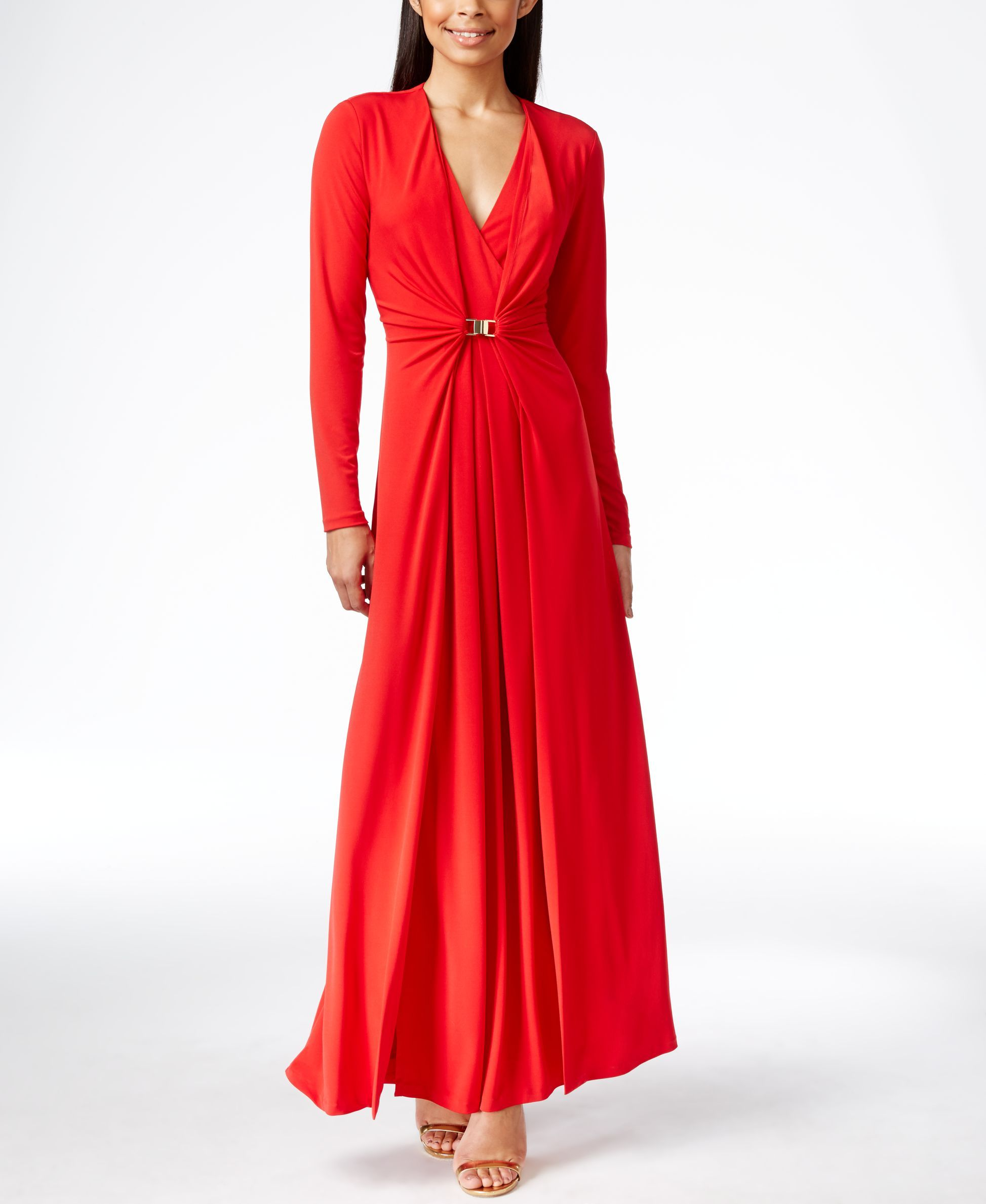Calvin Klein Long-Sleeve Ruched Evening Gown | elbise | Pinterest ...