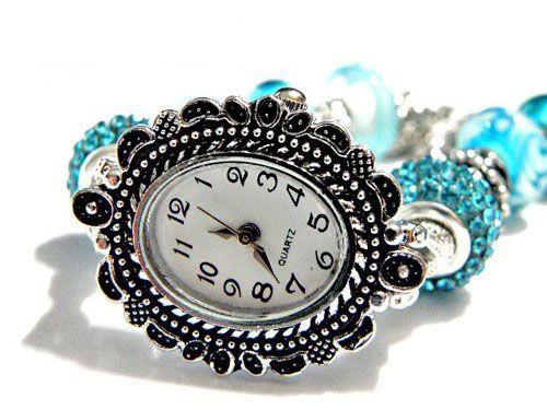 "european bead bracelet Watch aqua blue 7.5"" to 8.5"" adjustable"
