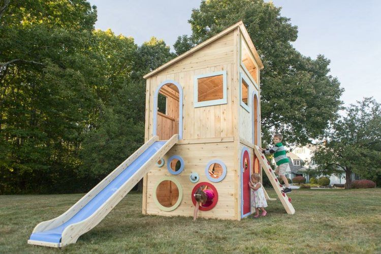 Klettergerüst Bauhaus : Spielhaus in fröhlichen farben streichen lila rosa grün