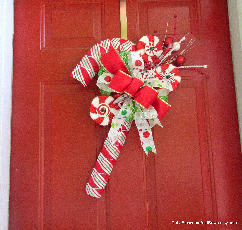 Candy Cane Wreath, Door Hanger, Door Décor, Wall Décor