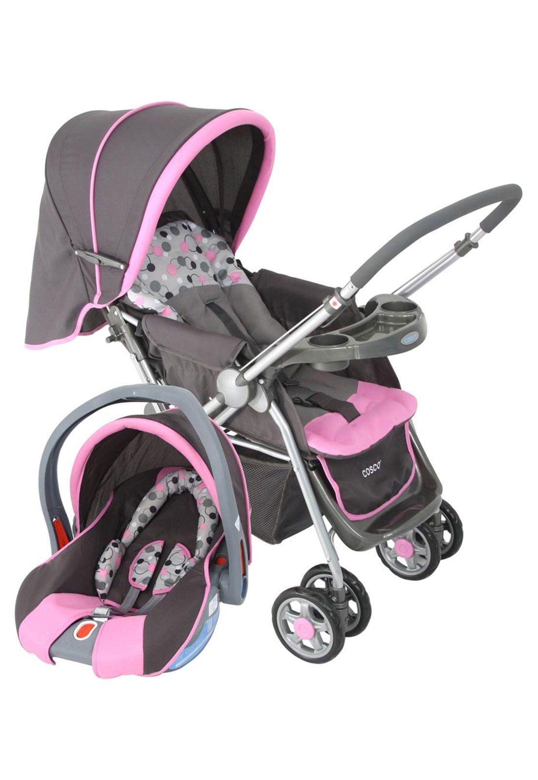 e17af28e08 Carrinho de Bebê Travel System Reverse Rosa Cosco
