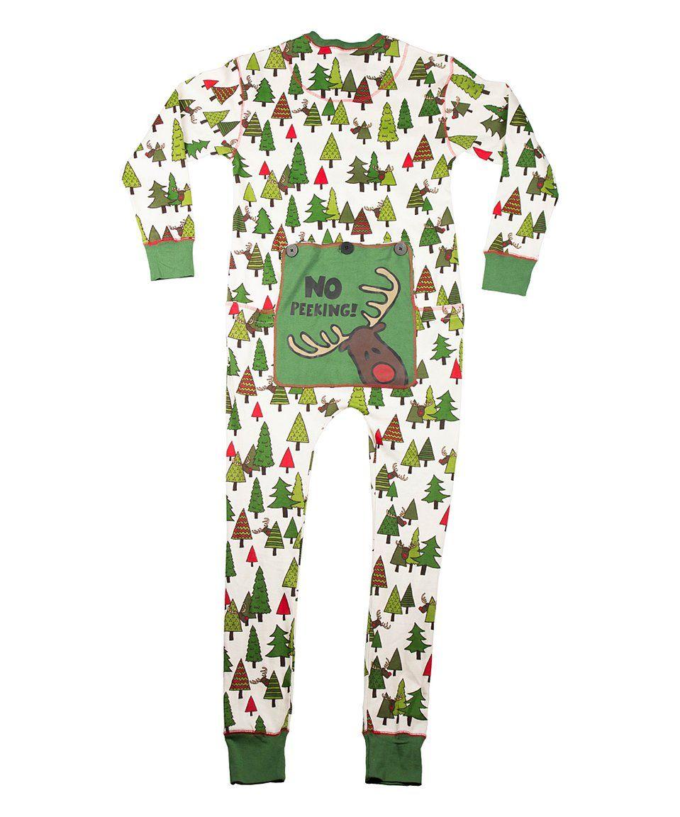 bb712e6769 Take a look at this Cream   Green  no Peeking  Flapjack Pajamas - Adult  today!