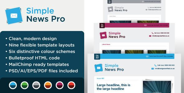 Simple News Pro  Email Marketing Template  WebsiteTemplates