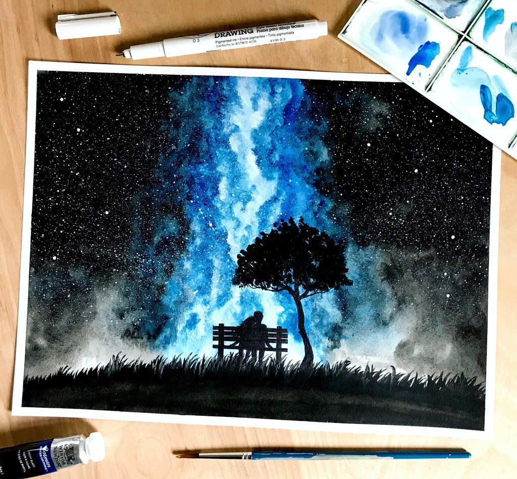 Original Watercolor Painting Handmade Watercolor Galaxy