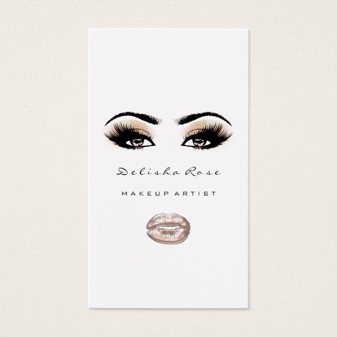 e66d7eda857 Makeup Artist Eye Lashes Glitter Eyebrow Lip Peach Business Card ...
