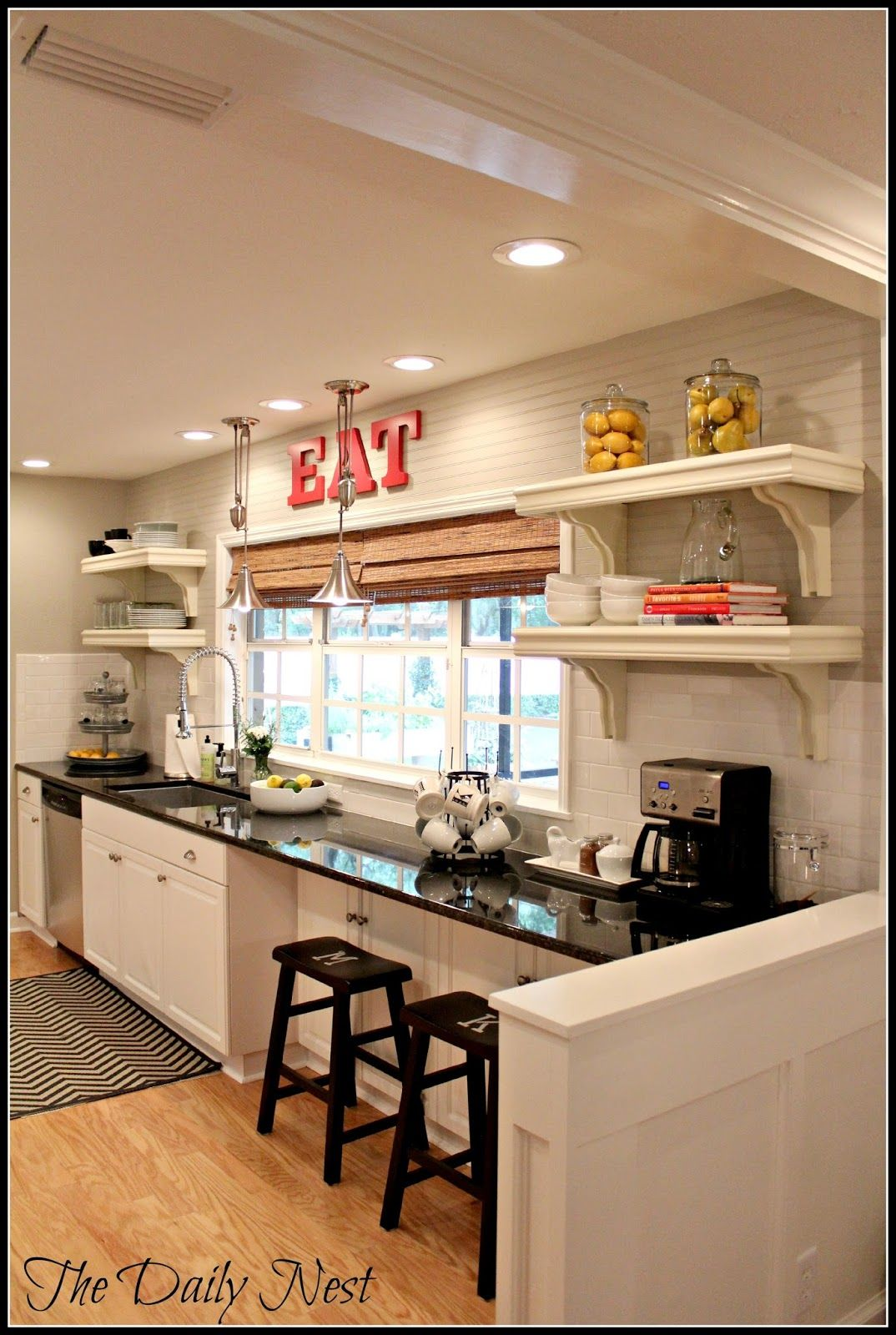 Awesome galley kitchen i adore the use of 12 inch for Galley kitchen accessories