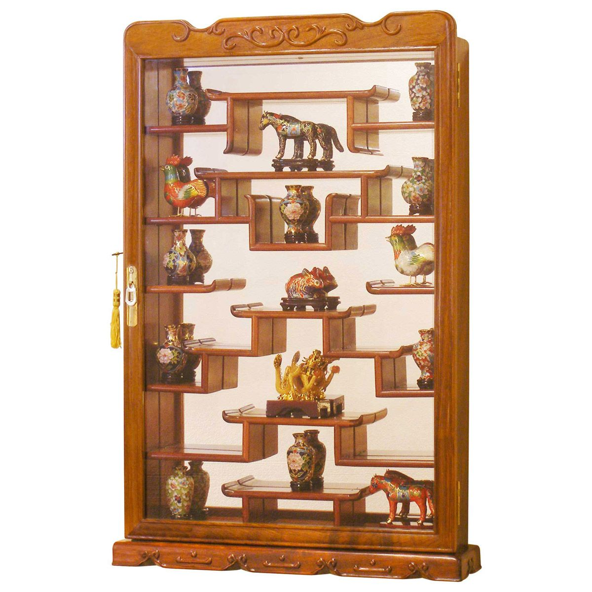 Glass Shelves Kitchen Cabinets: Rosewood Wall Curio Display Cabinet