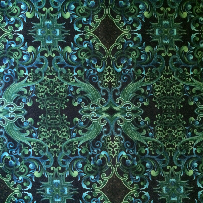 Benartex Paula Nadelstern - Opulence- Blue + green on black 7 yards available, $15/yard