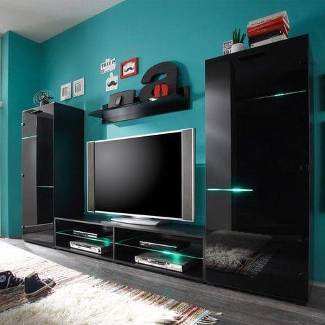Der schwarze farbton macht diese wohnwand media light zu - Schwarze wohnwand ...