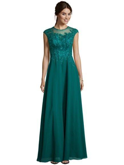 Ballspecial  LUXUAR Abendkleid mit Stickerei und Ziersteinen in Bottle    FASHION ID Online Shop   Peek   Cloppenburg 63a1e58ff7