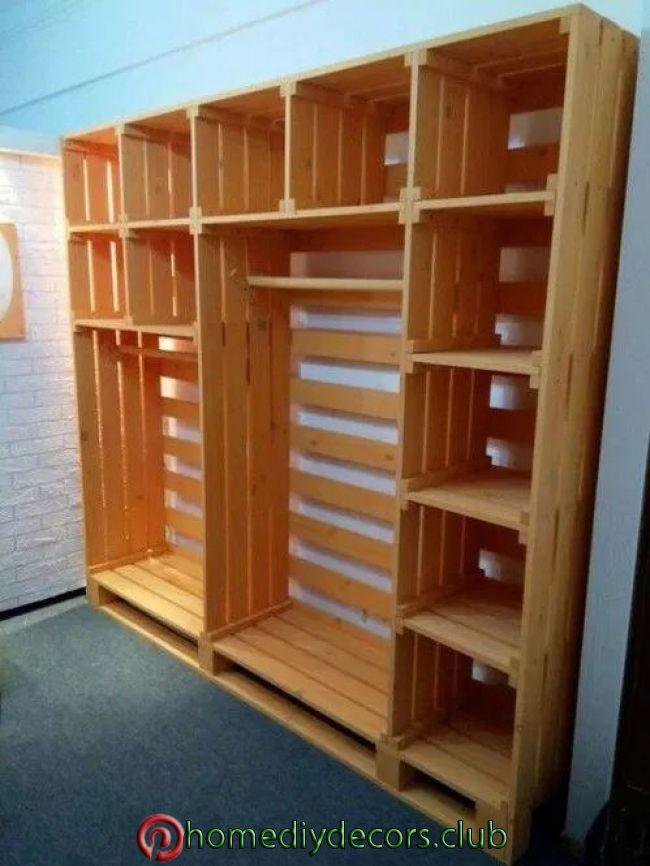 15 Como hacer un closet con huacales de madera