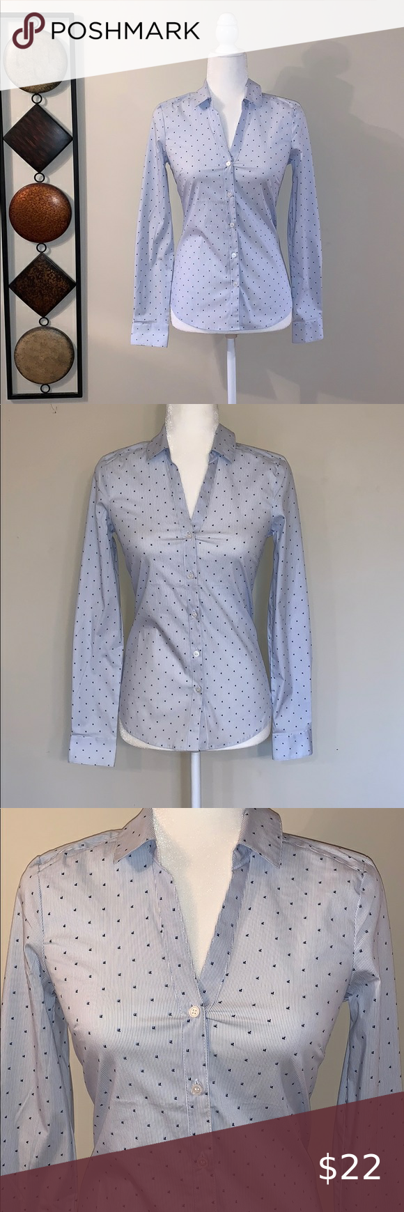 Photo of H&M Button Down Top NWT Blue striped with dark blue flower d…