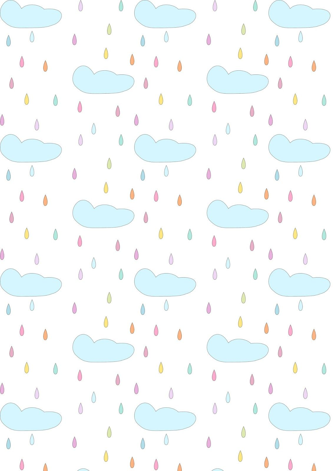 Free Printable Rainy Clouds Pattern Paper