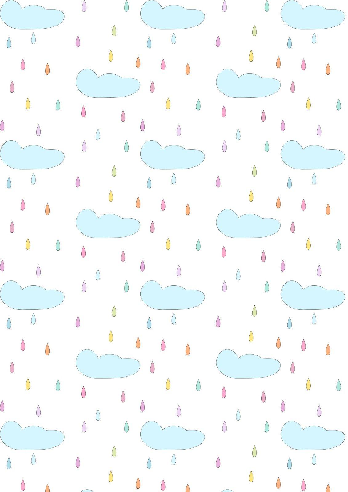 Scrapbook paper dollhouse wallpaper - Free Printable Rainy Clouds Pattern Paper Nurserypattern Pastel Dollhouse Wallpaper