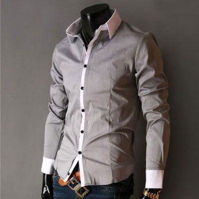 Free Shipping New Mens Shirts Casual Slim Fit Stylish Dress Shirts ...