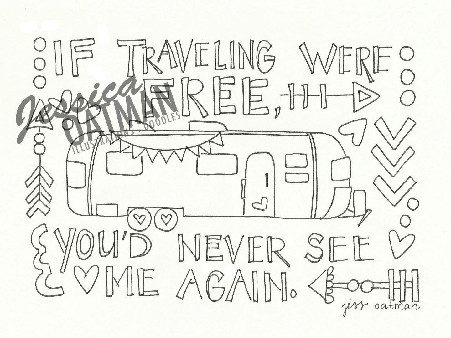 Camper Coloring Page Coloring Pages Airstream Travel Quote