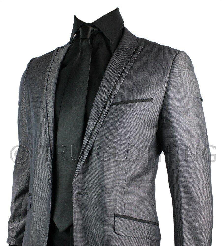 Details about Mens Slim Fit Suit Grey Shiny 1 Button Stitch Black ...