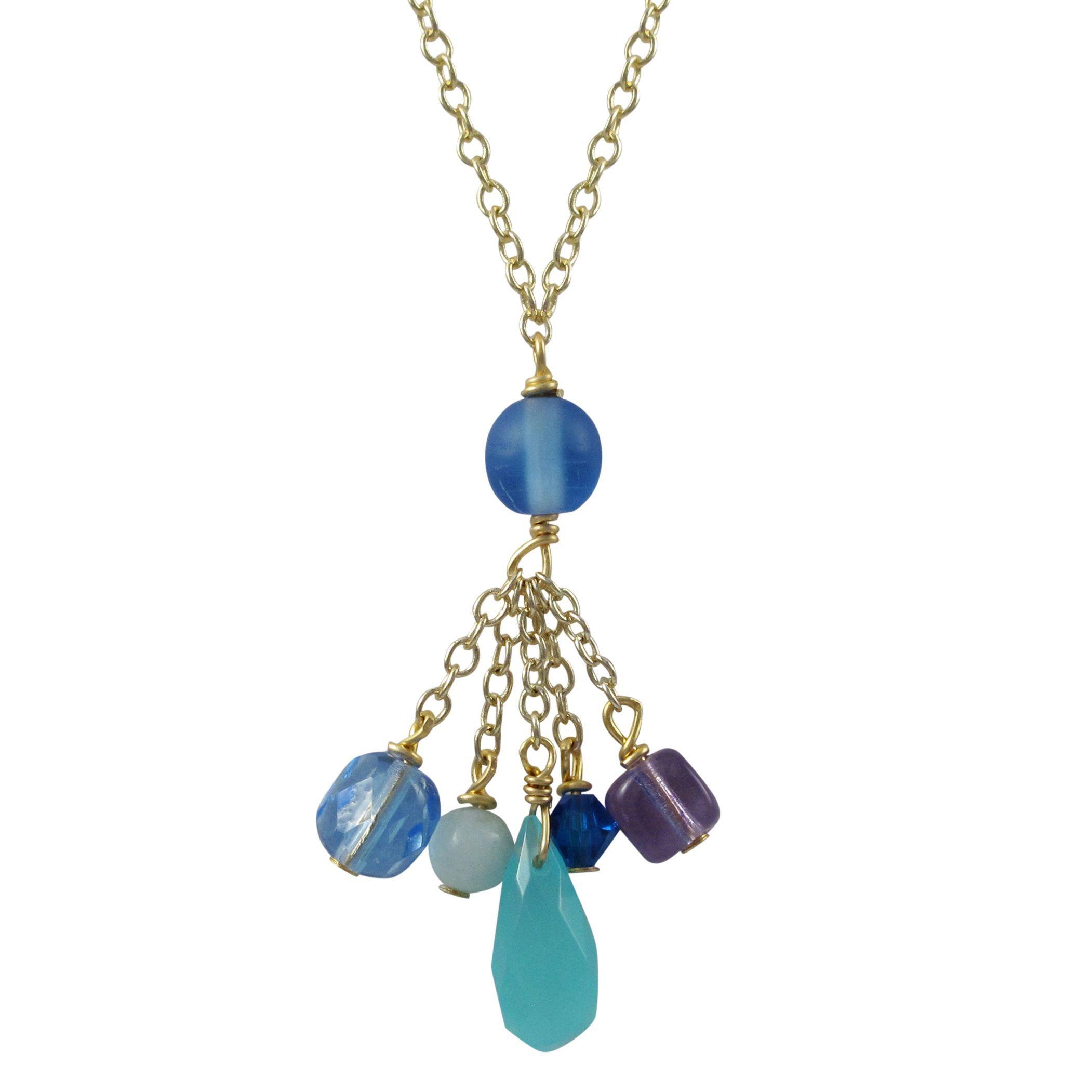 Luxiro Gold Finish Semi-precious Gemstone and Preciosa Bead Tassel Necklace