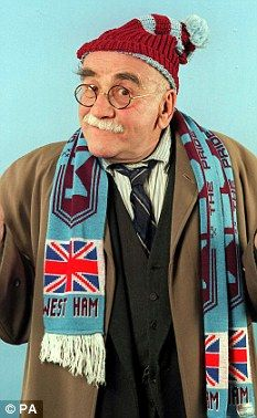 Popular: Born in in Stoke Newington, London, Mitchell scooped a Best TV Actor BAFTA Award in 1967 for his role as Garnett in Till Death Us Do Part. Above, he is pictured as Garnett in The Thoughts of Chairman Alf Comedy Actors, Tv Actors, Warren Mitchell, Bbc, West Ham, Jim Morrison, Peaky Blinders, Till Death, Sports Stars