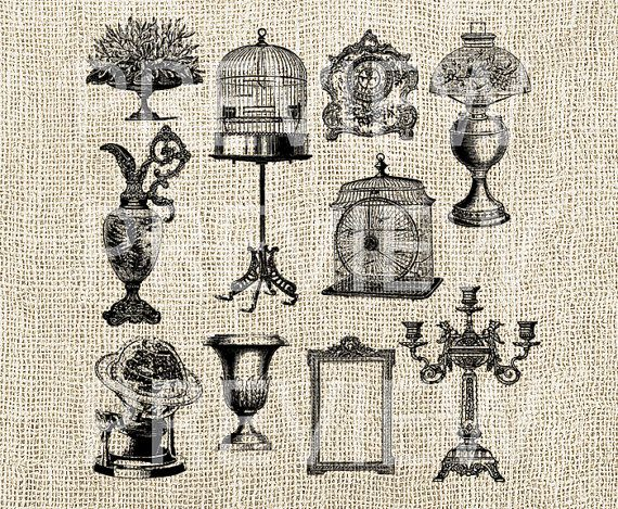 Vintage Decor Home Graphics Clipart  Printable by DIYVintageArt, $3.20