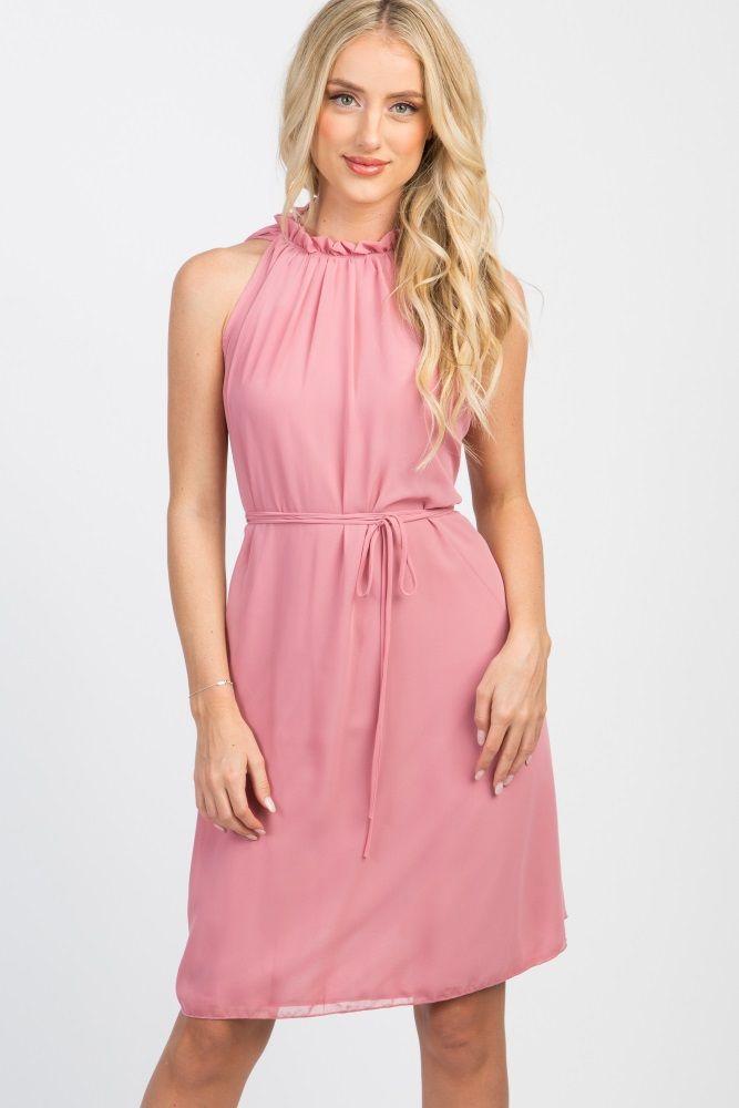 Pink Chiffon High Neck Dress  07525f1ca