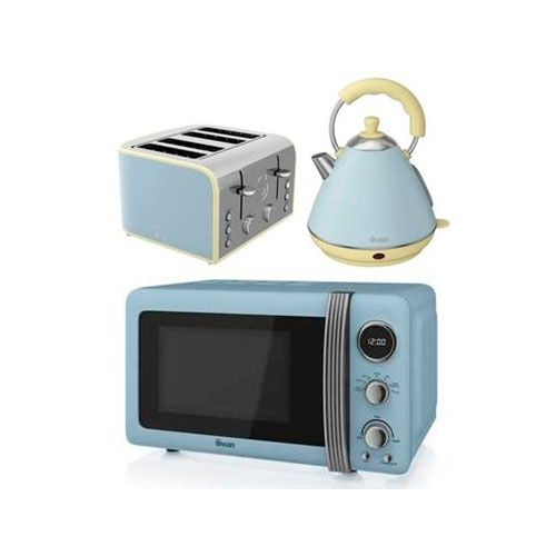 Swan duck egg blue microwave pyramid kettle 4 slice for Kitchen set kettle toaster microwave