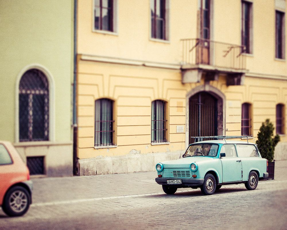 Vintage Blue Car, Budapest Hungary Photography, Pastel Colors, Urban ...