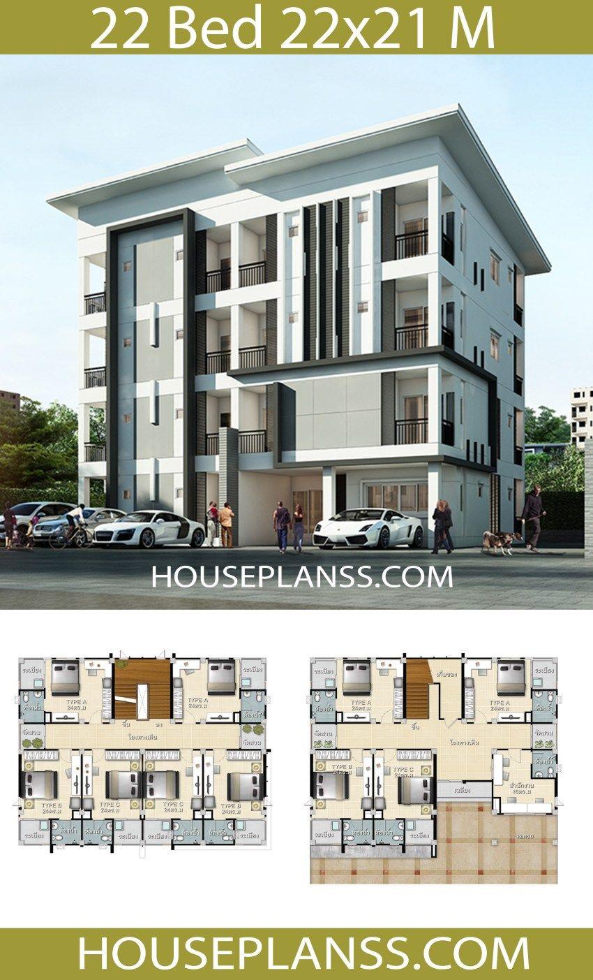 Apartment Plans 22x21 With 22 Bedrooms Apartment Plans Bungalow House Design Architectural House Plans
