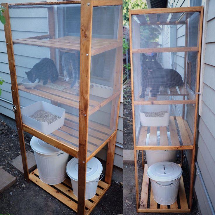Caja de arena para gatos DIY al aire libre  catio hecha con un estante IKEA Hejne arena para gatos Plugis