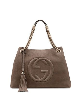 cb5c14a3749d vb  Soho Nubuck Leather Shoulder Bag, Gray by Gucci at Neiman Marcus ...