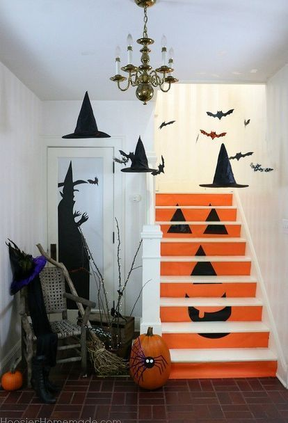 9 Spots You Forgot to Decorate for Fall Staircases, Halloween - halloween office ideas