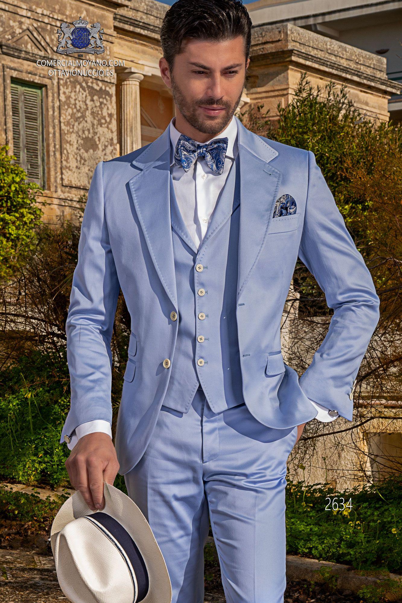 Traje italiano azul celeste de algodón Ottavio Nuccio Gala