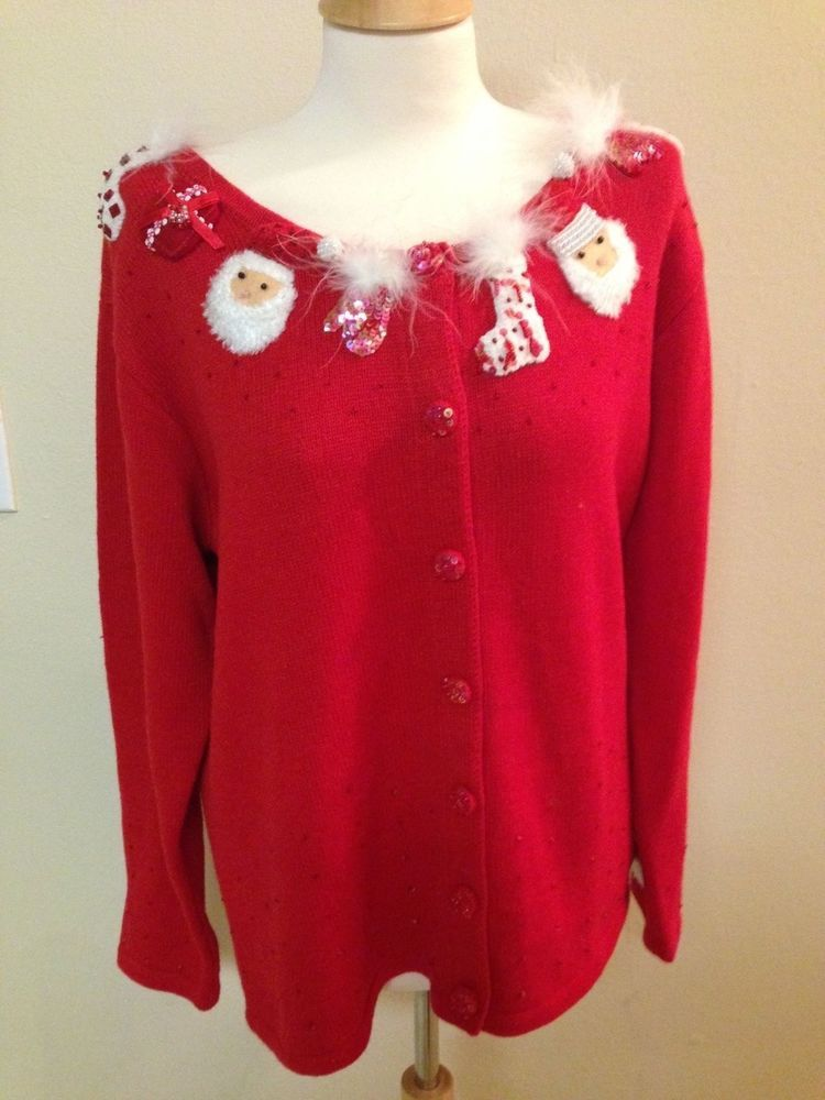 Storybook Knits large cardigan sweater SANTA CLAUS Christmas red ...