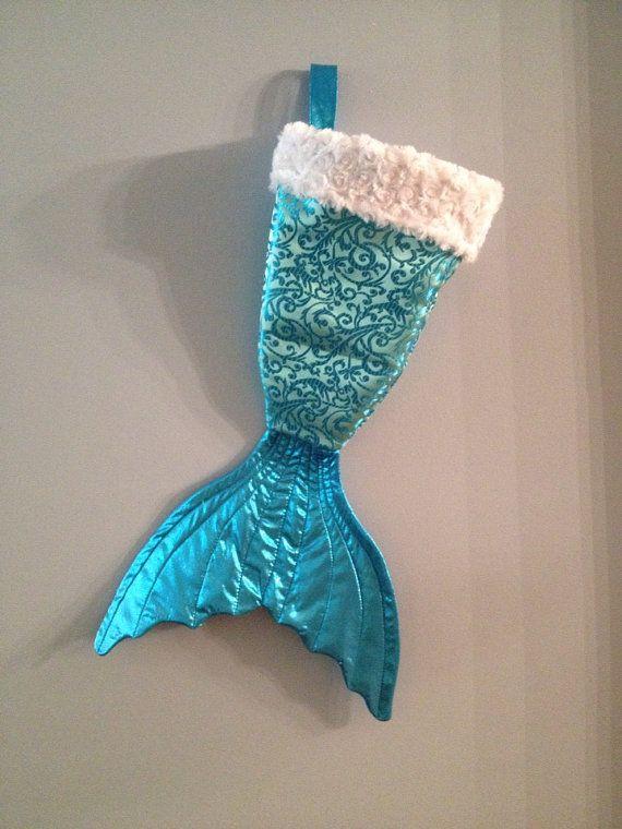Mermaid Christmas Stocking.Mermaid Tail Christmas Stocking Blue And Silver Sequin