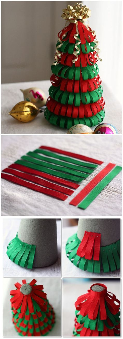Ribbon Christmas Tree DIY, craft projects Pinterest Christmas
