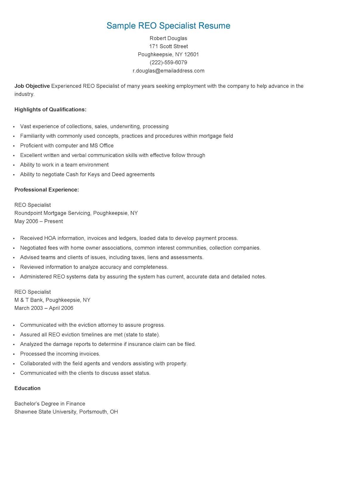 Sample REO Specialist Resume resame Sample resume