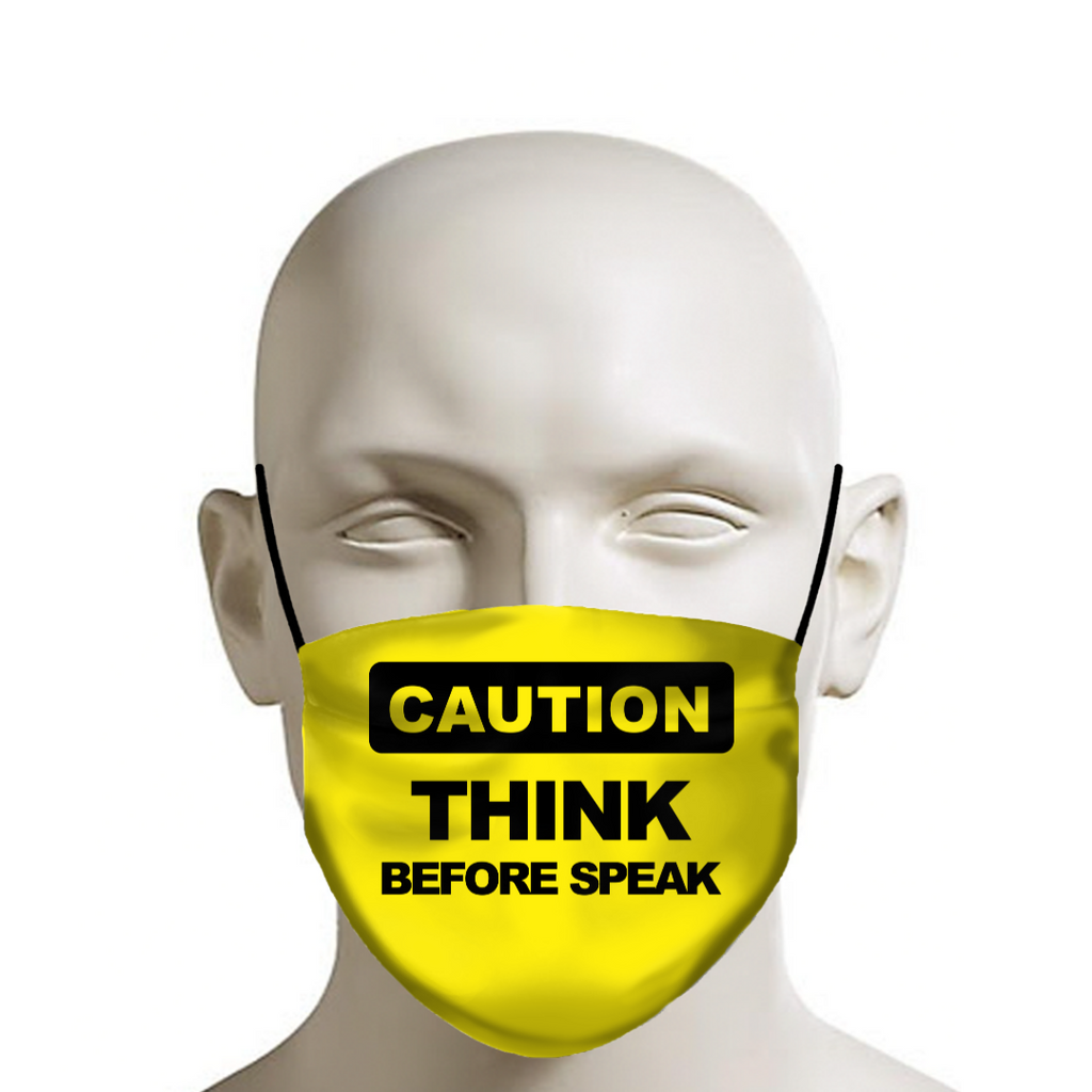 Think Before Speak funny quote face mask in 2020 Funny