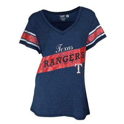 Medium Or Large Texas Rangers Ladies Memoir Boyfriend V Neck T Shirt Navy Blue Atlanta Braves Shirt Braves Apparel Texas Rangers T Shirts