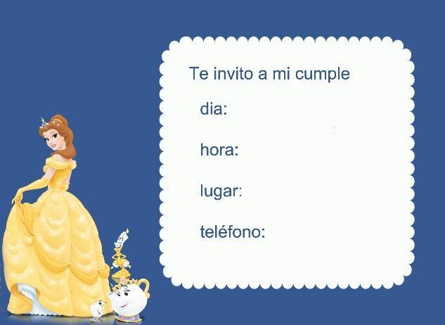 Invitación princesa Bella