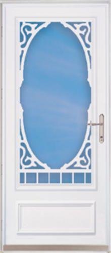 Chamberdoor Heritage 32 X 80 Nickel Hardware White Woodcore Storm Screen Door Reversible Swing At Menards Exterior House Remodel Porch Life Storm Door