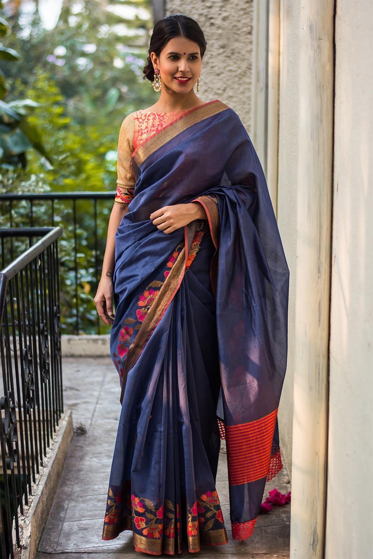 cd080cb7e4ac61 Indigo Chanderi cotton silk saree with floral and zari border #fashion  #style #wedding #reception