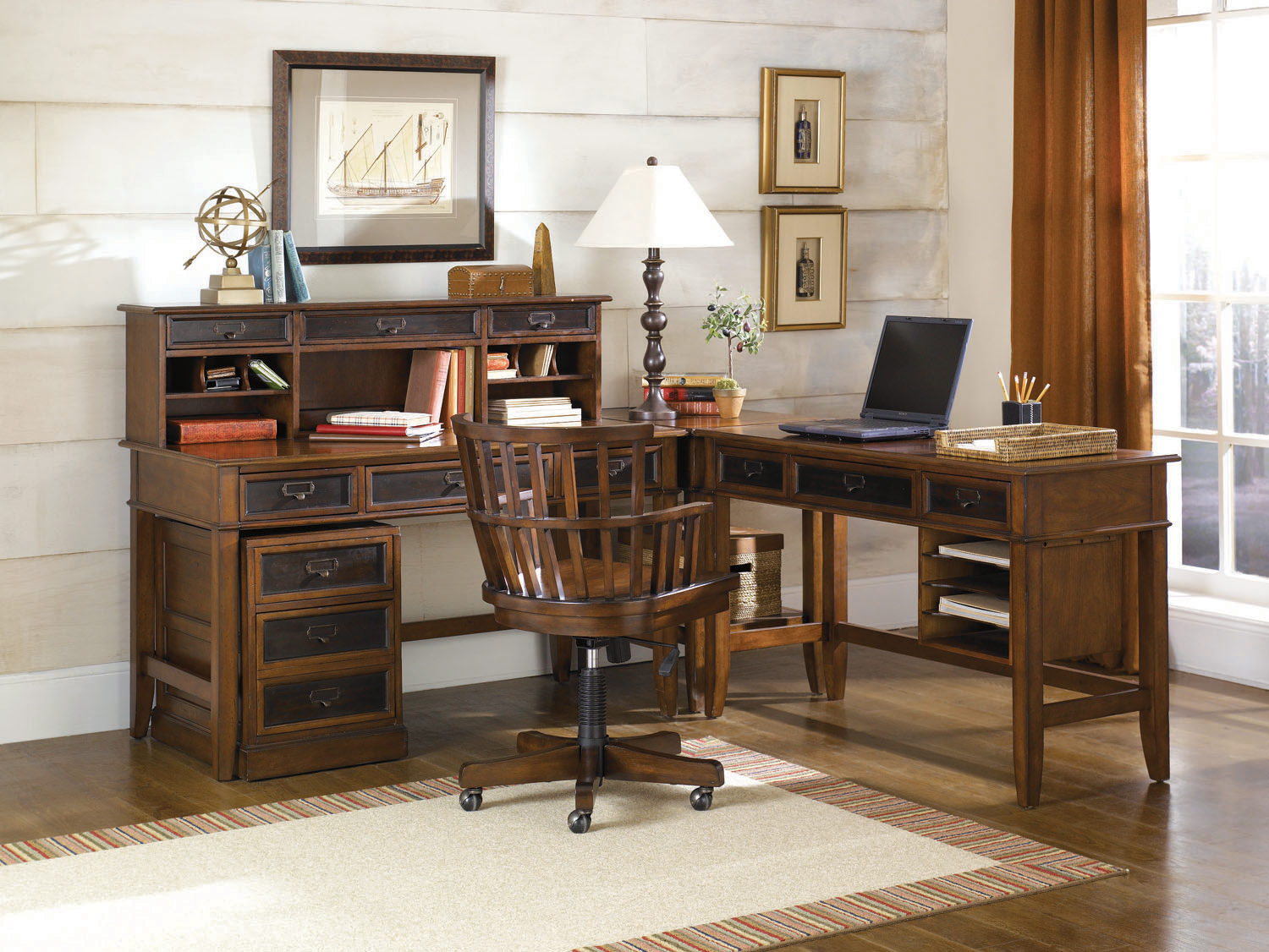 Mercantile l shaped home office desk set hammary home gallery stores
