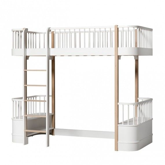 Oliver Furniture Wood Loft Bed With Front Ladder   In All White