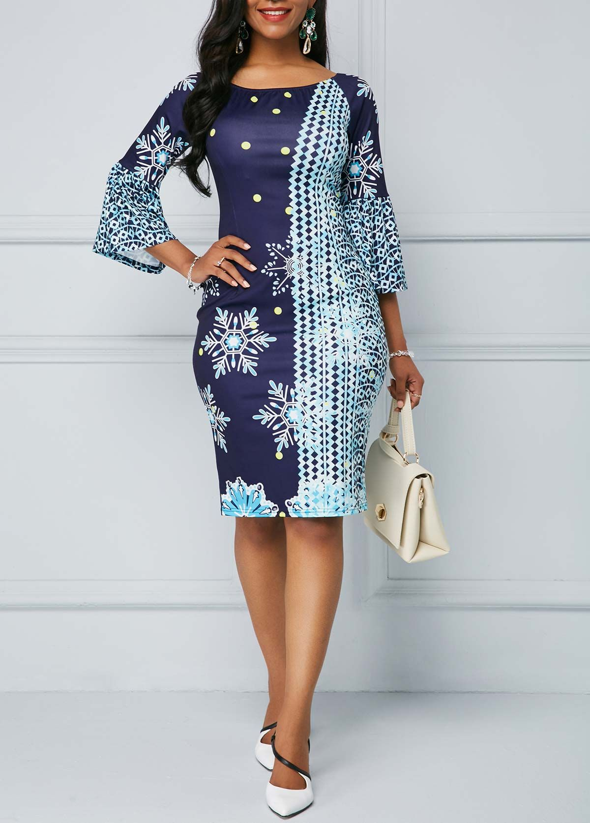 9561180d79c Back Slit Flare Sleeve Round Neck Sheath Dress | Rotita.com - USD $29.80
