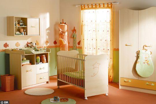 Chambre bebe garçon orange et verte | décoration chambre d\'enfants ...