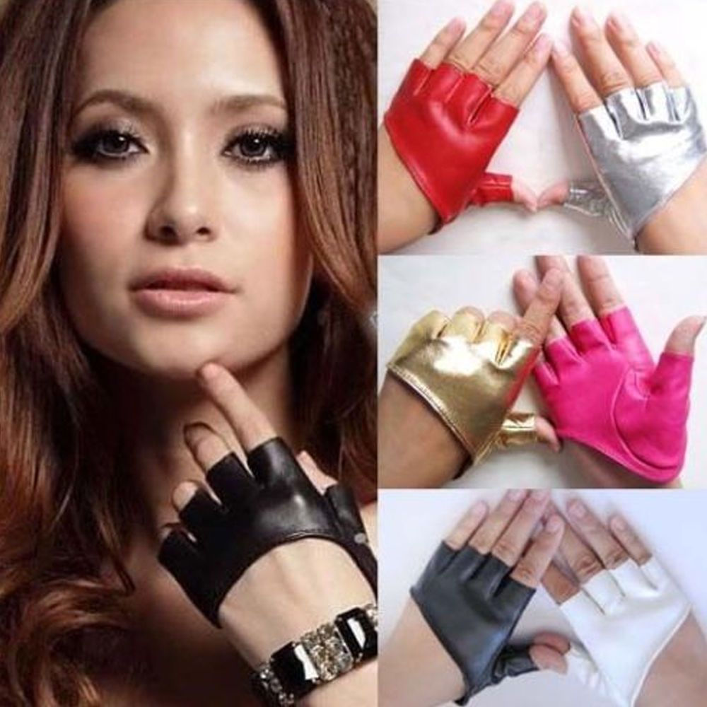 Fake leather driving gloves - Details About Women Half Finger Palm Gloves Nightclub Stage Pole Dancing Faux Leather Mitten