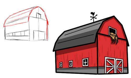 Drawing4children Com Barn Drawing Barn Painting Colorful Drawings